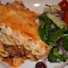 Pastitsio - Layered pasta dish with spiced meat sauce.