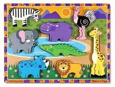 Melissa and Doug make dozens of puzzles in all variety's (chunky, peg backs, etc) i love the wood ones because they are durable and they span a wide age range. When we first got them it was about making the puzzle but it has now turned into naming the item, talking about colors, where the item (animal, tool, shape) comes from. Love.