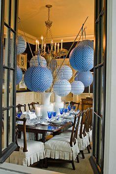 bambus deko bambusstangen tischdekoration festlich papierleuchten runde lampenschirme
