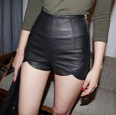 heetheadz.com black leather high waisted shorts (02) #highwaistedshorts