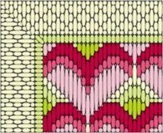 2 Free Bargello or Long Stitch Hearts Needlepoint Designs: Detailed Section of the Long Stitch Needlepoint Hearts Project