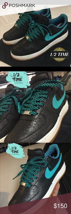 """Custom Python Skin AF1's AF1 classic silhouette with a python skin will definitely reel in the true sneakerheads Level UP """"ITS 1/2TIME"""" NIKE AF1 Shoes Sneakers"""