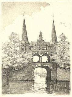 Francesco Antonietti, etching of the historical town of Sneek, Holland.