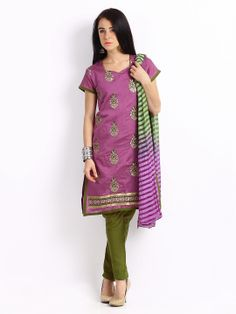Anouk Purple & Olive Green Embroidered Art Silk Unstitched Dress Material