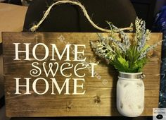 """Handcrafted Home Sweet Home floral sign with mason jar! 11"""" x 20"""""""