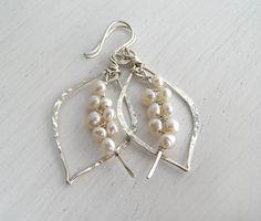 Silver Tusk Pearl Earrings