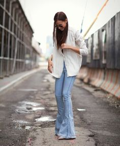 flared jeans with cardigan