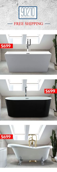 Freestanding bathtub for small and large bathrooms . This soaking tubs come in oval square clawfoot black white and many other shapes and designs. They include free shipping to lower 48th States. At prices below most competitors you can buy quality tubs and wholesale prices.