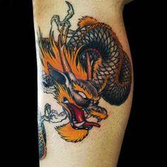 50 Best Dragon Tattoo Designs and Ideas - Beste Tattoo Ideen Dragon Tattoo Upper Leg, Dragon Tattoo Leg Sleeve, Dragon Tattoo Calf, Black Dragon Tattoo, Dragon Tattoos For Men, Japanese Dragon Tattoos, Tattoos For Guys, Best Leg Tattoos, Girl Leg Tattoos