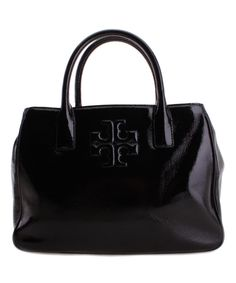 Look at this Tory Burch Black Charlie Patent Leather Satchel on #zulily today!