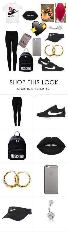 """""""my little Ariel💖"""" by jadynbell ❤ liked on Polyvore featuring NIKE, Wolford, Moschino, Lime Crime, Native Union and Bling Jewelry"""