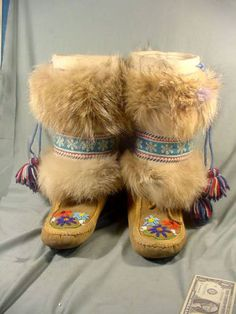 Original Inuit Stone Carving Long 1960 or Older Native American Design, Native Design, Native American Tribes, Moccasin Boots, Fur Boots, Shoe Boots, Cleaning Shoes, Tanning Hides, Indian Beadwork