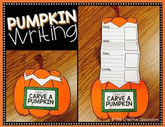 Second grade, individual writing. How to carve a pumpkin writing craft activity - perfect for fall! Kindergarten Writing, Teaching Writing, Writing Activities, Teaching Resources, Science Writing, Kindergarten Lessons, Craft Activities, Teaching Ideas, Classroom Fun