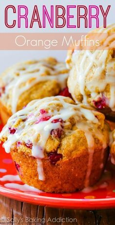 I love these! Buttery and moist, these cranberry orange muffins are heavy on the flavor and bursting with cranberries in each bite.