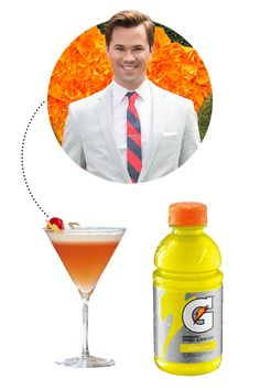 """Any good hangover remedies? Andrew Rannells: """"To me, it's like a classic Gatorade situation, it's like always a saver. Elle Fitness, Fitness Tips, Hangover Remedies, Andrew Rannells, Alcoholic Drinks, Cocktails, Healthy Drinks, The Cure, Classic"""