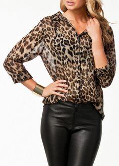 Leopard Long Sleeve T Shirt with Turndown Collar
