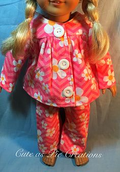 American Girl Doll Clothes, 3PC. Pink and White with Daisy Flowers Flannel…