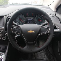 43.69$  Buy here - http://ali8sh.worldwells.pw/go.php?t=32765823194 - Brand New Anti Slip Black Leather Steering Wheel Stitch on Wrap Cover For Chevrolet Cruze 2015