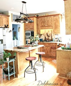Rustic decor kitchen with knock off vintage counter stools