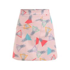 SheIn(sheinside) Triangle & Pineapple Print Striped A-Line Skirt (58 PLN) ❤ liked on Polyvore featuring skirts, bottoms, shein, pink, floral print a-line skirt, pineapple skirt, pink skirt, striped mini skirt and a line skirt