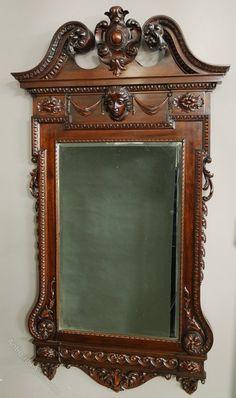 ~ Fine Quality William Kent Style Mahogany Mirror ~ antiques-atlas.com