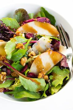 Autumn Pear Salad with Candied Walnuts and Balsamic Vinaigrette.