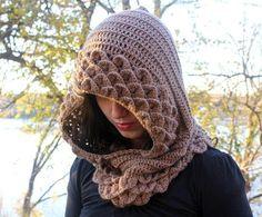 Marte A Crocodile Stitch Hood  Crochet Pattern by bonitapatterns