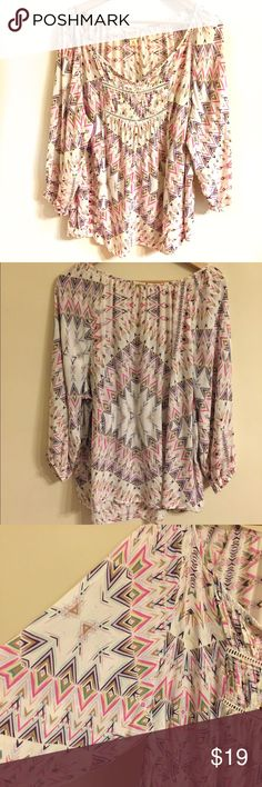 Mossimo Boho Blouse Size 2X Multicolored top size 2X. Armpit to armpit 26. Length 28. 100% Rayon Mossimo Supply Co. Tops Blouses