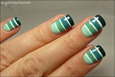 Sweet Sugar: Blue-Green Gradient Tape Manicure