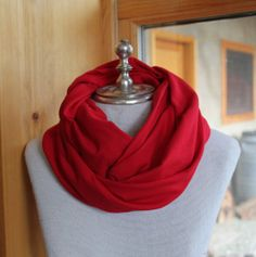 Perfect for Valentine's Day.  b. handmade designs Miss Scarlet red knit infinity scarf.