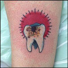 Nic LeBrun Art : Tattoos : Body Part Leg : Tooth Cavity Halloween . Weird Tattoos, Mini Tattoos, Leg Tattoos, Tatoos, Traditional Tattoo Tooth, Design Tattoo, Tattoo Designs, Tooth Tattoo, Cute Tooth