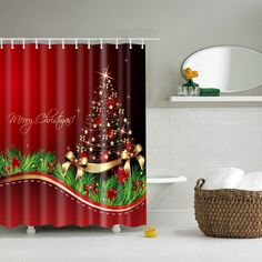 Good Quality Bathroom Waterproof Merry Christmas Shower Curtain (COLORMIX,L) in Bathroom Products | DressLily.com