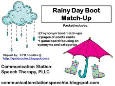{SPEECHIE FREEBIE:} Rainy Day Boot Match-Up! from  Communication Station: Speech Therapy PLLC