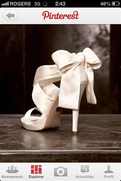 when i get married i want shoes that are a crea white with wraps around my top foot and a bow on the heal <3