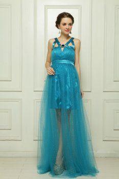 Paillettes puma de satin robe du soir bleu