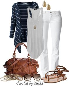 """White, Navy, Gray"" by dlp22 ❤ liked on Polyvore"