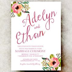 Wedding Invitation Floral wedding invitation by DivineGiveDigital