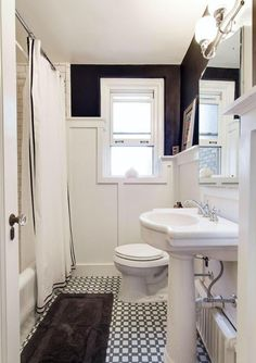 A Beautiful Home Renovation Makes Big Bucks For The Sellers - cool black and white bathroom.