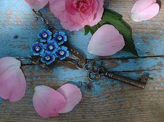 Repurposed skeleton key necklace  Forgetmenot by crazyfoxstudio, $36.00