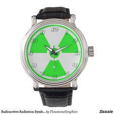 Radioactive Radiation Symbol green and black Wristwatches