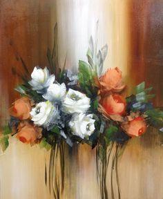 Big Canvas Art, Flower Painting Canvas, Oil Painting Flowers, Flower Canvas, Flower Art, Floral Drawing, Rose Art, Acrylic Art, Watercolor Art