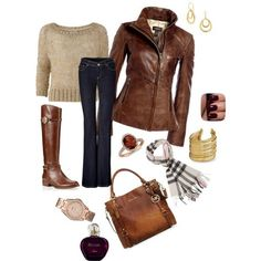 Adorable fall outfit of brown jacket, sweater, jeans, long boots, scarf and hand bag Boho Outfits, Neue Outfits, Cute Fall Outfits, Fall Winter Outfits, Winter Fashion, Fashion Outfits, Outfits 2014, Casual Outfits, Tan Leather Jackets