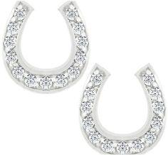 Valeny Horseshoe Stud Earrings | 0.3ct | Cubic Zirconia | Sterling Silver