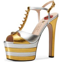 Gucci Angel Studded T-Strap Platform Sandal ($1,100) ❤ liked on Polyvore featuring shoes, sandals, gold, shoes sandals, ankle strap platform sandals, leather t strap sandals, platform shoes, ankle strap sandals and metallic platform sandals