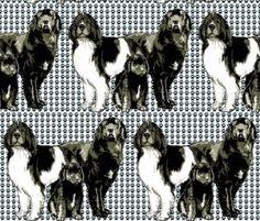 Newfoundland dog family fabric