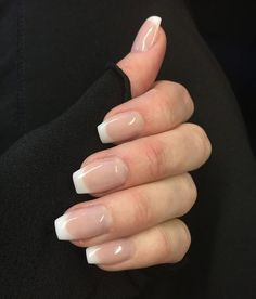 24 Luxury Coffin French Tip Nail Designs 2019 French tip nails are chic, delicate and gorgeous. It is a classic nail art design type, in recent years it has become the trend of nail art design. The history of French tip nails was first used by Fr French Nails, Ongles Gel French, French Tip Acrylic Nails, French Tip Nail Designs, Acrylic Nail Designs, American French Manicure, Short French Tip Nails, American Manicure Nails, Natural French Manicure