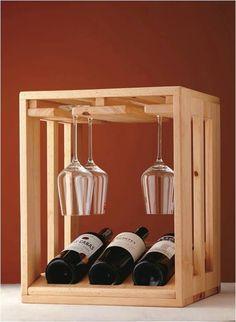 Tabletop wine rack, holds glasses and bottles Wood Wine Racks, Wine Glass Rack, Wine And Liquor, Wine And Beer, Wine Gadgets, Alcohol Dispenser, Pallet Wine, Wine Carrier, Wine Bottle Holders