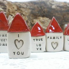 Miniature rustic ceramic houses by Orly Pittel