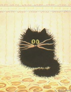 Scaredy Cat With Wallpaper  - by Cynthia Schmidt from Cats
