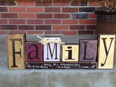 Family is everything primitive wood block by FromTheMillWoodBlock